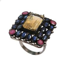 Antique Victorian Diamond Sterling Silver Blue Sapphire Ruby Citrine Ring R-295