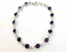 Handmade 925 Sterling Silver Bracelet Real Round Amethyst Stones and a Gift Box