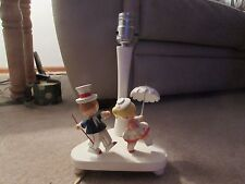 Nursery Plastics Vintage Child's Lamp - Girl with Umbrella/Boy with Cane