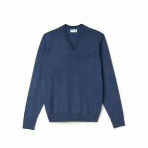 LACOSTE Mens Sweater V Neck AH2987-00-Q88 Blue 100% Wool NEW