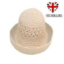 e1cf1f83a9481 Ladies Womens Girls Crushable Packable Summer Straw Style Sun Hat Beige