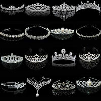 Silver Bridal Veil Tiara Diamante Rhinestone Crown Wedding Party Prom Headband N