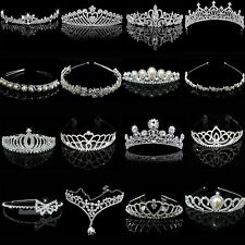 Bridal Wedding Crystal Flower Tiara Crown Pearl Rhinestone Hair Band Headband N