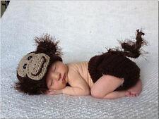 Monkey Crochet Knit Newborn Baby Girl Boy Costume Photo Photography Prop Outfits