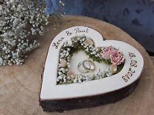Hochzeit Ringkissen Ringhalter Herz Mille Fleurs rosa für Eheringe mit Namen