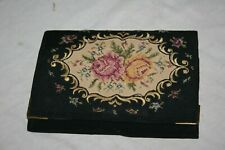 Vintage Embroidered Clutch Purse Wallet Needlepoint Tapestry