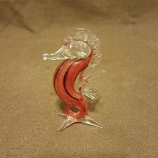 Miniature Hand Blown Art Glass Blue Seahorse Figurine Red Swirl 3in