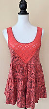 Free People Pink Floral Lace Linen Blend Printed Swing Tank Top Sleeveless S