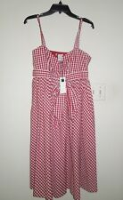 NWT VINTAGE Carole Little Red White Gingham Check 100% Cotton Dress 12