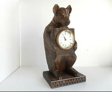 Black Forest Wood Bear Clock Hand Carved