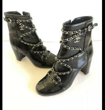 Chanel Black Patent Leather Boots With Chains Size 38