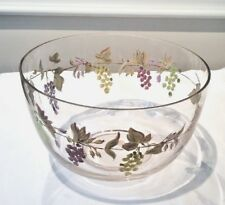 BLOCK CLEAR MOUTH BLOWN HAND PAINTED BOWL NAPA VALLEY GRAPES & LEAVES DESIGN