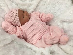 REBORN DOLL HEAVY GIRL FAKE BABY BALD PINK KNITTED OUTFIT MAGNETIC DUMMY P