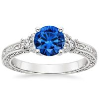 1.30 Cts Round Blue Sapphire Diamond Engagement Ring Solid 14k White Gold
