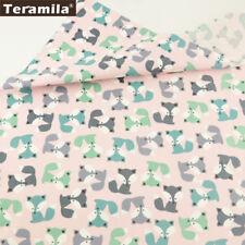 Teramila Cotton Fabrics Cartoon Foxes Patterns Sewing Textile Cloth 50cmx160cm