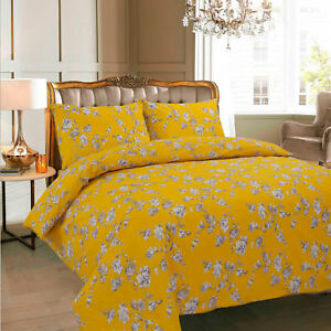 Floral Mustard DUVET COVER WITH PILLOW CASE QUILT COVER BEDDING SET ALL SIZE