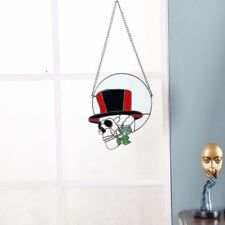 Bieye 11 inch Skull and Rose Tiffany Style Stained Glass Window Hangings