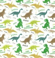 DINOSAUR POLYCOTTON  FABRIC MATERIAL CRAFTING HOME DECOR FABRICS DINOSAURS CRAFT