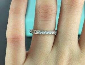 $6,500 Tiffany & Co Platinum Diamond 3.2mm Wedding Band Anniversary Ring Sz 7.5