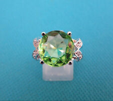 925 Sterling Silver Ring With Green Quartz & Topaz UK Q, US 8 (rg1561)