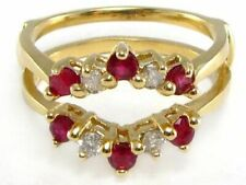 Enhancer Guard Ring 14k Yellow Gold Over 1ct Solitaire Red Ruby & White Round