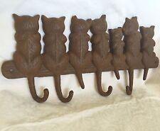 "Key Hook Hanger Vntg Style Cast Iron Cat Kitten Brown Rustic Finish 15""L 4 Hooks"
