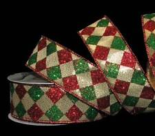 10 Yards Red Green Glitter Diamond Jester Harlequin Christmas Gold Wired Ribbon