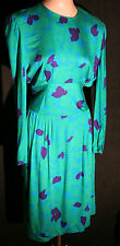 "Vintage 80s Pierre Balmain Dress Vibrant Greens Blues  MEDIUM  29"" waist"