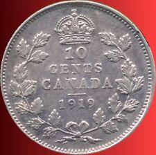 1919 Canada 10 Cent Silver Coin ( 2.32 Grams .925 Silver )