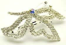 New Silver Tone Clear Austrian Crystal Butterfly Hair Clip Barrette Wedding Prom