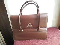 Vintage Sac porté main Cuir Cartable Marron Ladies Leather Hand Bag