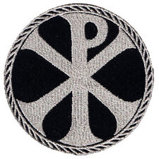 VEGASBEE® CROSS CHI-RHO EMBROIDERED IRON-ON PATCH CHRISTOGRAM SILVER METALLIC 3""