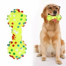 Dotted Dumbbell Shaped Dog Toys Squeeze Squeaky Faux Bone Pet Chew Toys For Dogs