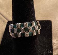 Sterling Silver Genuine Diamond & Emerald Ring MDJ MICHAEL DRECHSLER Size 7