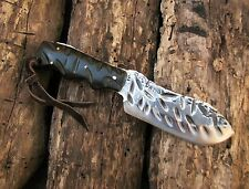 FORGED CUSTOM KNIFE - 8 in (20 cm) - CAR SPRING STEEL 5160 - LIZARD SKIN SHEATH