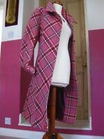 Ladies NESS TWEED WOOL COAT JACKET UK 16 14 pink tartan check long line