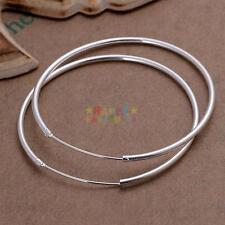Fashion 925 Sterling Silver Round Big Large Hoop Huggie Loop Earrings