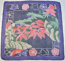 """VINTAGE AUTHENTIC TROPICAL FOREST BLUE PINK GREEN CHIFFON RAYON 35""""SQUARE SCARF"""