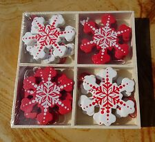 Box of 12 Wooden Snowflake Christmas Tree Hanging Decorations Red & White Nordic