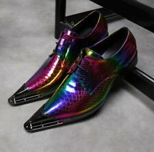 Wedding Mens Dress Formal Leather Shoes Metal Pointy Toe Shiny Party Business Sz