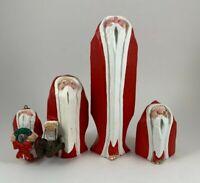 Dept 56 Faux Carved Wood Barefoot Santa's Lot Of 4 Vintage Christmas