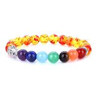 7 Chakra Natural Stone Beads Bracelet Elastic Buddha head Bracelet 249