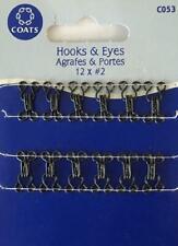 Coats Crafts - Hooks & Eyes - Black - 12 x #2 - C053