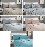 Cozy Home Printed Soft Beautiful 4-Piece Bed Sheet Set Queen Size Deep Pocket