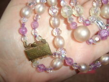 Vintage 50s Double String Strung Strand Necklace Mauve Pink Faceted Pearl Beads