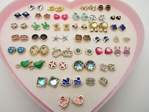 Crystal Bow Crown Earrings 36 Studs Stars Heart Lips Gems Various Hypoallergenic