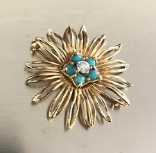 14k Solid Yellow Gold CZ and Turquoise Flower Brooch/Pin, 4.6 Grams
