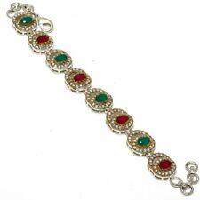 """Ruby, Emerald Gemstone Turkish Silver Jewelry Bracelet 7-8"""""""