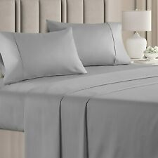 """Gorgeous 100% Egyptian Cotton Bed sheets set Light Grey Solid Queen Size 15""""Deep"""