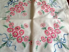 VINTAGE HAND EMBROIDERED WHITE COTTON TABLE CLOTH 34x34 Inches